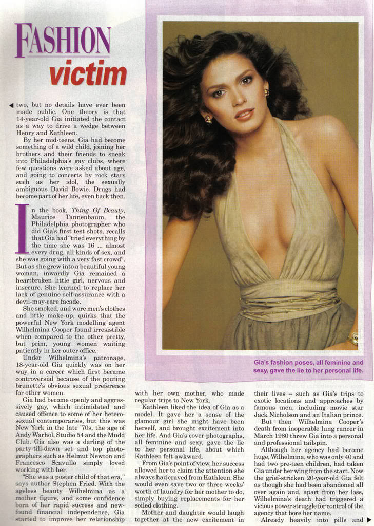 gia and her life Knockout`s punch a `70s supermodel had plenty of pluck, but not enough to prevent her tragic downfall may 9  gia`s life emerges not so much as a tragedy as a.