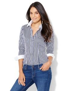 Cerelina Proesl New York & Company 7th Avenue Design Studio - Madison Stretch Shirt - French Cuff - Stripe  02358079_180_av1.jpg