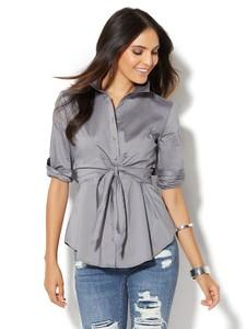 Cerelina Proesl New York & Company 7th Avenue Design Studio - Madison Stretch Shirt - Tie-Waist 00380239_544_av1.jpg