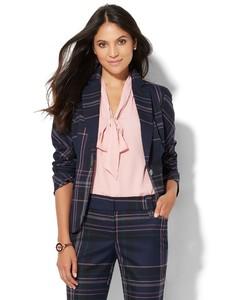 Cerelina Proesl New York & Company 7th Avenue Design Studio - One-Button Jacket - Modern Fit - Navy Plaid 06280205_180_av1.jpg