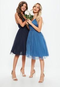 bridesmaid-navy-mesh-plunge-mini-skater-dress.jpg
