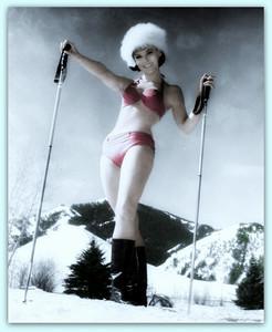 Yvonne Craig - pink bikini and skis.jpg