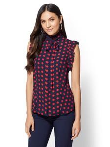 Cerelina Proesl New York & Company 7th Avenue - Dot-Print Ruffled Bow Blouse 00381262_180.jpg