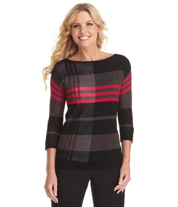 AK Anne Klein Woman Plaid Sweater.jpg