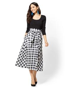 Cerelina Proesl New York & Company 7th Avenue - Paperbag-Waist Flare Skirt - Gingham 06171171_094_av4.jpg