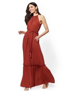Cerelina Proesl New York & Company Halter Maxi Dress in Spiced Curry 07728392_557.jpg