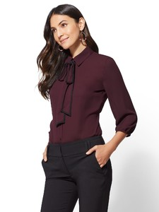 Cerelina Proesl New York & Company 7th Avenue - Piped Bow-Accent Blouse 00385487_969.jpg