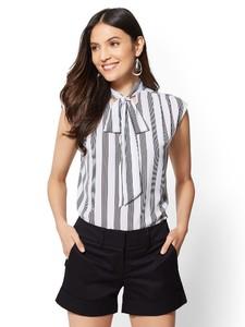 Cerelina Proesl New York & Company 7th Avenue - Print Bow Blouse 01300998_041.jpg