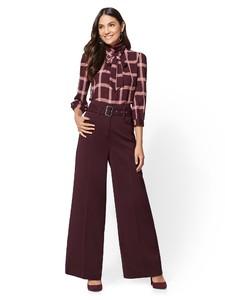 Cerelina Proesl New York & Company 7th Avenue - Maroon Plaid Bow Blouse 00387919_969_av4.jpg