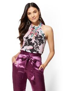 Cerelina Proesl New York & Company 7th Avenue - Floral Ruffled Halter Blouse 01411767_242.jpg