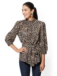 Cerelina Proesl New York & Company Leopard Mock-Neck Bow Blouse 00385787_006.jpg