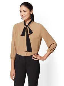 Cerelina Proesl New York & Company 7th Avenue - Colorblock Bow Blouse 00385486_321.jpg