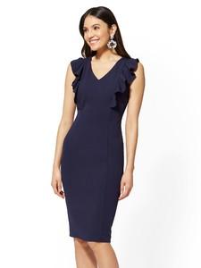 Cerelina Proesl New York & Company Ruffled V-Neck Sheath Dress 06149864_180.jpg
