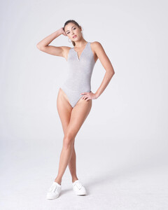 Heather Grey Plunging Bodysuit Rayon Jersey_0001.jpg