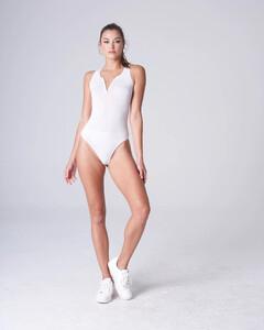 White Plunging Bodysuit Rayon Jersey_0001.jpg