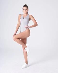 Heather Grey Plunging Bodysuit Rayon Jersey_0003.jpg