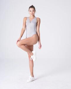 Heather Grey Plunging Bodysuit Rayon Jersey.jpg
