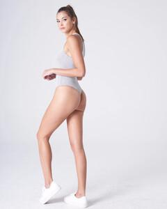 Heather Grey Plunging Bodysuit Rayon Jersey_0004.jpg