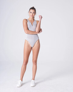 Heather Grey Plunging Bodysuit Rayon Jersey_0002.jpg