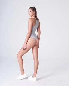 Heather Grey Plunging Bodysuit Rayon Jersey_0006.jpg