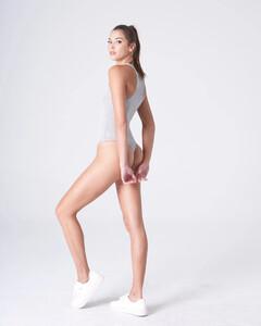 Heather Grey Plunging Bodysuit Rayon Jersey_0005.jpg